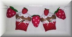 Cupcake Strawberry Garland / Muffin Erdbeer Girlande