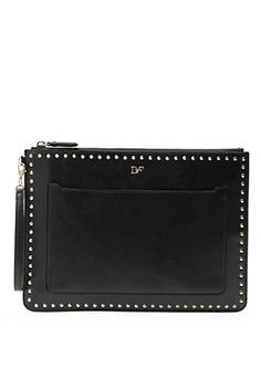 Zip and Go Studded Leather Pouch In Black