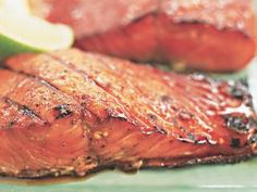 A burnt, stuck-to-the-grill crust and flavorless interior are the reality of glazed salmon. With 50 pounds of salmon and gallons of briquettes, we set out to solve both problems. Salmon Recipes, Fish Recipes, Seafood Recipes, Healthy Recipes, Healthy Foods, Yummy Recipes, Dinner Recipes, Brown Sugar Glazed Salmon, Steak
