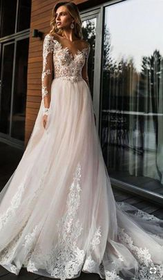 Elegant Lace Wedding Dress Vestidos de novia 2020 Simple A Line Bridal Dress V-Neck Sexy Romantic Floor Length Wedding Gowns - All Fashion 4 Women Shop Off Shoulder Wedding Dress, Applique Wedding Dress, Wedding Dress Trends, Wedding Dress Sleeves, Long Wedding Dresses, Long Sleeve Wedding, Bridal Dresses, Bridesmaid Dresses, Dress Wedding