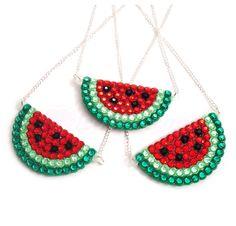 New to VelvetVolcano on Etsy: Watermelon Necklace - Sparkly Red Fruit Pendant - Kitsch Rockabilly Melon Jewelery - Fruity Bling Jewelry - Pink Watermelon (11.15 GBP)