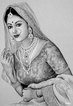 Coloring for adults - Kleuren voor volwassenen 3d Art Drawing, Girl Drawing Sketches, Art Drawings Sketches Simple, Pencil Art Drawings, Indian Women Painting, Indian Art Paintings, Rajasthani Painting, Art Drawings Beautiful, Beautiful Paintings