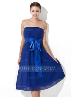 Bridesmaid Dresses - $85.99 - Empire Strapless Knee-Length Chiffon Charmeuse Bridesmaid Dress With Ruffle Sash (007000839) http://jjshouse.com/Empire-Strapless-Knee-Length-Chiffon-Charmeuse-Bridesmaid-Dress-With-Ruffle-Sash-007000839-g839