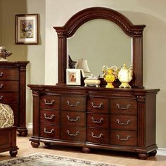 Shop for Furniture of America Tamp Traditional Cherry Bedroom Set. Get free delivery On EVERYTHING* Overstock - Your Online Furniture Shop! 9 Drawer Dresser, Wood Dresser, Dresser With Mirror, Double Dresser, Bedroom Dressers, Bedroom Sets, Bedroom Furniture, Bedroom Décor, Bed Room