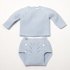 Newborn knitted bloomer pullover set - blue