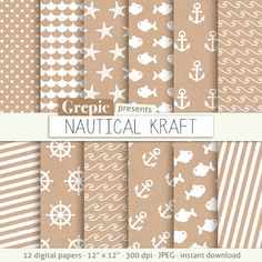 """SALE 50% Nautical digital paper: """"NAUTICAL KRAFT"""" papers white nautical patterns on brown craft paper, sea waves, fishes, sea star"""
