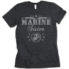"""The listing is for one short-sleeve UNISEX crewneck t-shirt with """"Marine Sister"""" design. Please refer to the size chart below (laying flat measurements in inches) if you want to measure it against one"""
