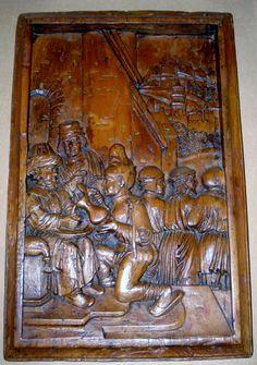 exceptionnel bas relief en bois sculpte polychrome et dore representant la legende de saint. Black Bedroom Furniture Sets. Home Design Ideas