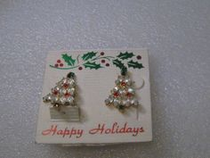"Gold Tone Rhinestone Christmas Tree Clip Earrings, 1"" tall, post mid-century NEW #Unbranded #clipearrings"