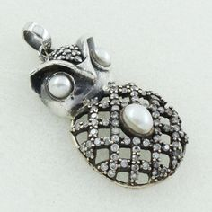 PEARL & CUBIC ZIRCONIA STONE OWL SHAPED DESIGN 925 STERLING SILVER PENDANT #SilvexImagesIndiaPvtLtd #Pendant