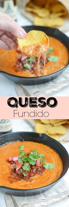 Queso Fundido - the best cheese dip! Hot, spicy, and perfect for any party!