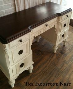 Top is finished with Java Gel by General Finishes; Body is painted with two coats of Annie Sloan Chalk Paint in classic Old White and sealed with one coat of Annie Sloan Clear Wax