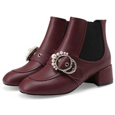 Burgundy Faux Pearl Embellished Metal Circle Buckle Ankle Boots (1.356.330 IDR) ❤ liked on Polyvore featuring shoes, boots, ankle booties, burgundy boots, embellished booties, buckle booties, short boots and circle boots