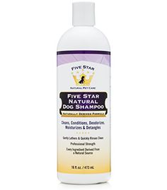 Five Star Natural Dog Shampoo and Conditioner - Soothing for Itchy, Sensitive, Dry Skin - Cleanser, Deodorizer, Moisturizer, Detangler - No Wet Dog Smell - Made in USA * Click image for more details.