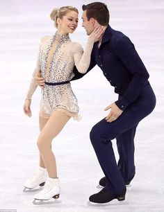 A nice change! When it comes to darker huers, figure skaters often go with black, but American married athletes Alexa Scimeca Knierim and Chris Knierim rocked touches of navy blue, from Chris' entire outfit to Alexa's dress embellishments Pairs Figure Skating, Figure Skating Costumes, Ice Dance Dresses, Figure Skating Dresses, Skateboard Girl, Beautiful Figure, Ballet, Winter Olympics, Olympians