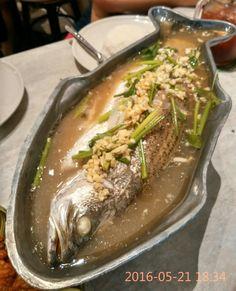 Thailand: Steamed Sea Bass in Tom Yum gravy.