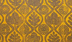 Handmade wallpaper design by Peggy Angus c1950s. Prints for the wallpaper designs were created by translating tile pattens onto hand-cut lino blocks.