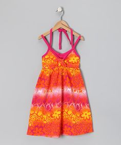 $10.99 Take a look at this Orange Floral Tie-Dye Dress - Toddler & Girls by Star Ride on #zulily today!