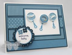 handmade baby card ... monochromatic blues ... rattles and patterned paper ... Stampin' Up!