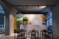 Architecture office Storage Associati designed Potafiori, a restaurant and a flower shop located in Milan, Italy and completed in Read More… Cafe Restaurant, Restaurant Design, Restaurant Interiors, Restaurant Ideas, Flower Shop Design, Floral Design, Milan Design Week 2017, Front Courtyard, Travel Wallpaper