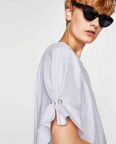 画像 3 の フェイクパール付きスリーブTシャツ ザラから