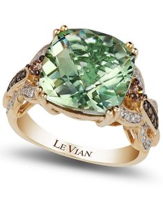Dare to dazzle. This vibrant ring by Le Vian highlights a cushion-cut green amethyst center stone (6 ct. t.w.) encircled by round white (1/6 ct. t.w.) and chocolate (1/5 ct. t.w.) diamonds at the shou