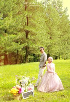 dini djoemiko + fachri prewedding shoot by glamorous photography jakarta   spring inspired engagement flawless hijab fashion wedding inspired #shabbychic #shabby #summer
