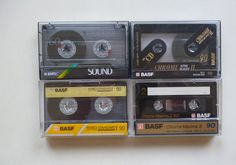4 Audiokassetten / BASF EMTEC / SOUND / CHROME SUPER / FERRO STANDARD / MAXIMA