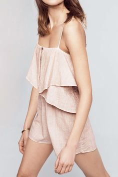 A little skimpy, but looks comfortable + love the color // Amora Tiered Romper by Anthropologie