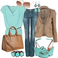 Turquoise and Cinnamon, created by pamnken on Polyvore