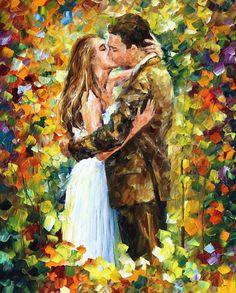 "Beso romántico — cuchillo de paleta figura moderno arte textura pintura al óleo sobre lienzo de Leonid Afremov - tamaño: 24 ""x 30"" (60 cm x 75 cm)"