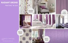 Pantone Spring 2014 interior decor inspiration Radiant Orchid.  This color isn't for everyone...especially in interior design, but here are some ideas for subtle ways to add this vivacious color.