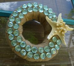 Items similar to Starfish mini wreath with aqua crystal sea glass on burlap- small coastal accent wreath for the beach house or anywhere! on Etsy Beachy Cottage Decor, Crafts To Sell, Diy Crafts, Island Crafts, Diy Projects To Try, Door Wreaths, July 4th, Starfish, Sea Glass