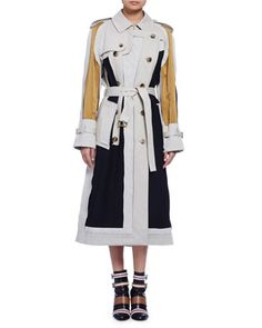 Long-Sleeve+Colorblock+Trenchcoat,+Multi+by+Lanvin+at+Bergdorf+Goodman.
