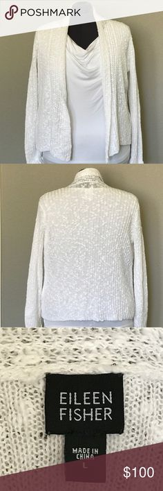 ⭐SUPER SALE⭐⭐EILEEN FISHER WHITE LINEN/COTTON CARD Eileen Fisher...  Need i say more😍😍😍😍. Beautiful Soft Linen and Cotton Ribbed Light Weight Cardigan. MUST HAVE IN YOUR WARDROBE👸🏼👸🏼👸🏼 it great shape. No stains or marking. I LOVE MY CLOTHES SO THEY ARE CARED FOR. 👼🏼👼🏼👼🏼 Eileen Fisher Sweaters Cardigans