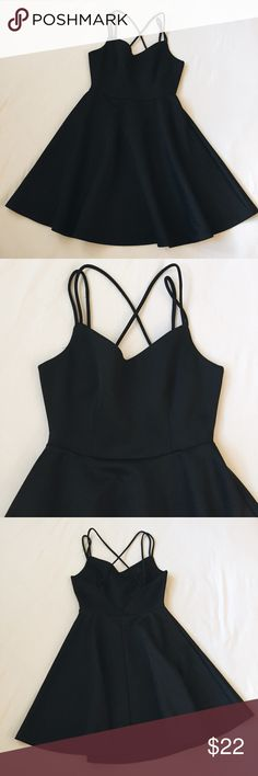 Strappy Black Dress (Open back) 🌹 Black strappy dress with open back. No flaws. Super comfy and stretchy material. 95% Polyester 5% Spandex.  *NOT BRANDY, for exposure only* Brandy Melville Dresses Mini