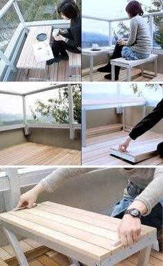 Make The Most Of Your Small Balcony – The integrated furniture just pops up and, when not needed, it remains hidden in the decking area.