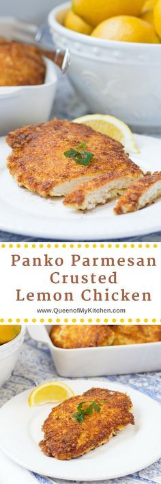 Hands down - the best lemon chicken ever!! Panko Parmesan Crusted Lemon Chicken is crispy, lemony, juicy and delicious. Use it to make chicken parmesan and chicken ceasar salad too.