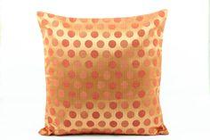 Vermilion Orange Dots Silk Pillow cover 20x20, Gold Orange Pillow cover, Polka Dots, Orange Circles Accent Pillow, Orange couch sofa