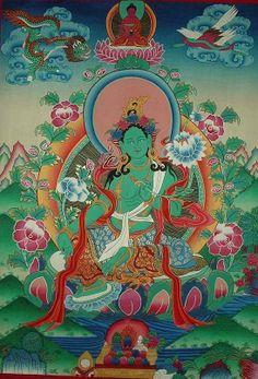 Tibetan Thangka Paintings grøn Tara