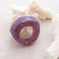 Lavender Fields Purple Faceted Bold Eco Resin Ring