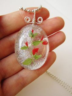 IFgal charm pendant necklace wild tiny flower in crystal by IFgal, $20.00