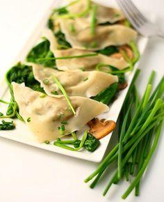 Walnut Ravioli with Spinach Mushroom Saute