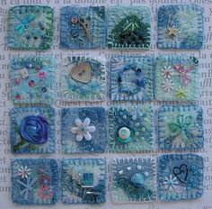 Blue inchies - each tiny embroidered square measures 1 inch square.