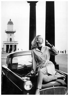 Tania Mallett wearing raincoat by Morcosia at Fenwick, Lancashire, Vogue, March 1960