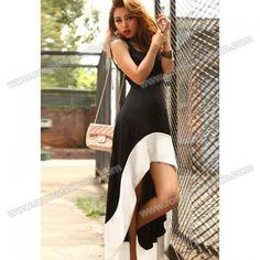 5e10def9b8 Simply Design Scoop Neck Color Block High-Low Hem Special Strap Embellished  Black Sleeveless Imitation Silk Dress For Women