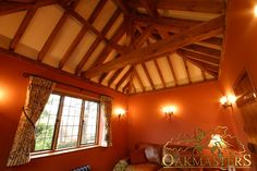 King oak post trusses and open vaulted ceilings - Oakmasters Open Ceiling, Ceiling Lights, Wood Ceilings, Vaulted Ceilings, Roof Trusses, Roof Structure, Beams, Building, King
