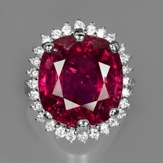 13.35ct Natural Shocking Pink RUBELLITE TOURMALINE Mozambique 925 Silver Ring! Overpriced, but pretty. Wish it was set in white gold tho...