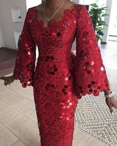 Komole Iro and buba in embellished daisy swirl motif. - Women's style: Patterns of sustainability Nigerian Lace Styles, African Lace Styles, African Lace Dresses, African Dresses For Women, African Attire, African Wear, African Fashion Dresses, African Women, Ankara Fashion