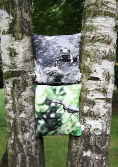 #stag #beetle #salamander #tree #park #wood #forrest #photography #cushion #pillow #illustration // #hirschkäfer #wald #baum #fotografie #zeichnung #kissen #gots #vegan
